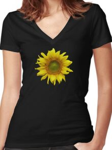 Sunny Sunflower Women's Fitted V-Neck T-Shirt