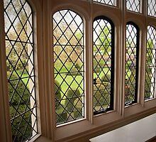 Garden Green Through the Tudor Window: Hall Place, Kent. UK. by DonDavisUK