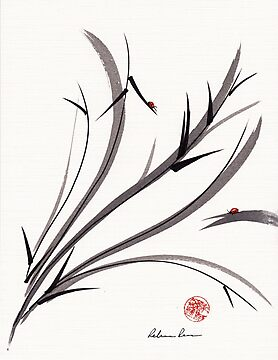 &quot;My Dear Friend&quot;  Original ink and wash ladybug bamboo painting/drawing by Rebecca Rees