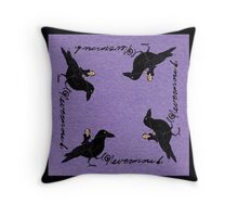 Poe and Raven Throw Pillow