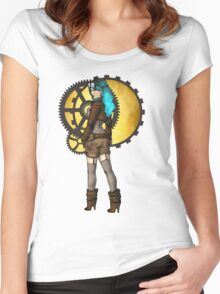 Steampunk Girl Pinup Women's Fitted Scoop T-Shirt