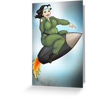 Fat Lady Riding A Missile Greeting Card