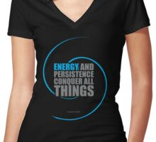 "Energy and persistence... ""Benjamin Franklin"" Inspirationl Quote Women's Fitted V-Neck T-Shirt"