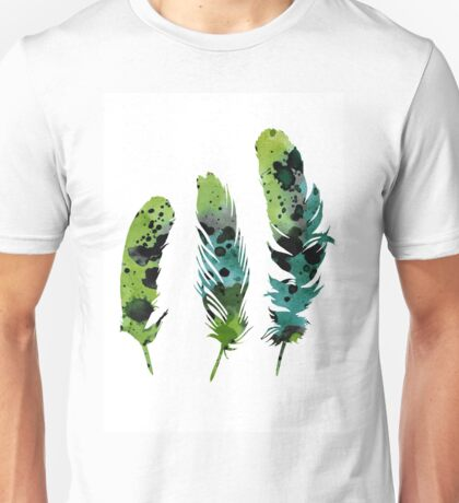 Colorful feathers minimalist painting Unisex T-Shirt