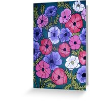 Many Coloured Anemones Greeting Card