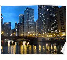Dearborn Street Bridge at Night Poster