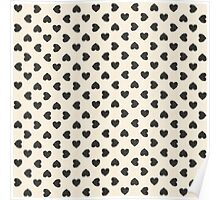 Black hearts on white background Poster