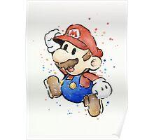 Mario Watercolor Painting Poster