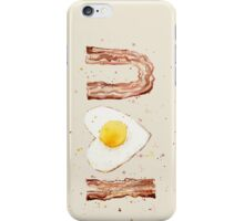 Bacon and Egg I Heart U Watercolor iPhone Case/Skin