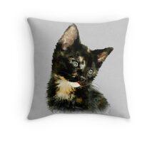 Susie: Black and tan Kitten Throw Pillow
