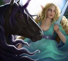 Elf on a Unicorn with a Sword by Mel Fox