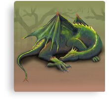 Sleeping green dragon Canvas Print