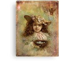 Girl with blue eggs Canvas Print