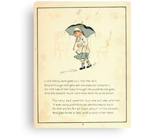 The Glad Year Round for Boys and Girls by Almira George Plympton and Kate Greenaway 1882 0017 Little Emily Jane Rain Canvas Print