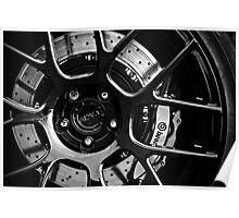 ADV. 1 Black White Rim Wheel Dark Poster