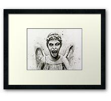 Weeping Angel Watercolor - Doctor Who Fan Art Framed Print