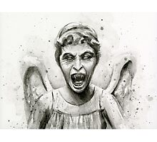 Weeping Angel Watercolor - Doctor Who Fan Art Photographic Print