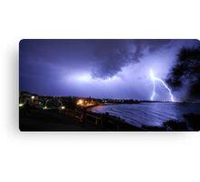 Lightning over Moffat Beach Canvas Print