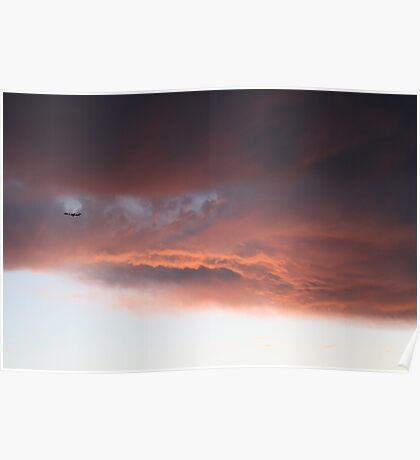 Airplane through sunset Poster