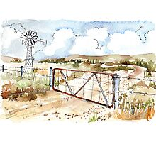 A windpomp and a gate Photographic Print