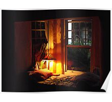 Cottage window by lamplight... Poster