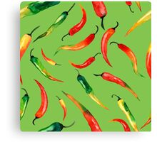 - Chilli pattern (green) - Canvas Print