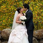 Bride and groom with autumn colours by Stephen Colquitt