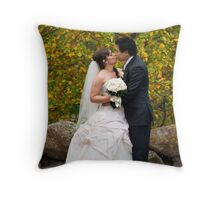 Bride and groom with autumn colours Throw Pillow
