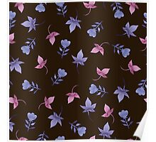 - Cute watercolor flower pattern (black) - Poster