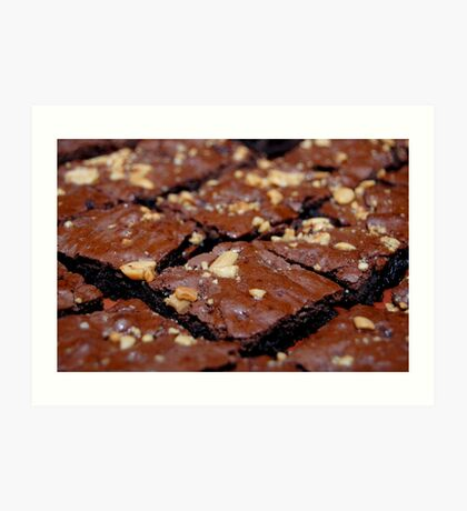 Brownies with nuts and chocolate. Art Print