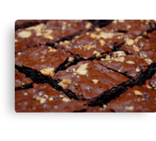 Brownies with nuts and chocolate. Canvas Print