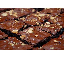 Brownies with nuts and chocolate. Photographic Print