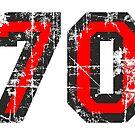 Number 70 Black/Red Vintage 70th Birthday Design by theshirtshops