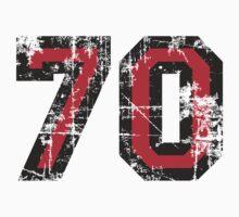 Number 70 Black/Red Vintage 70th Birthday Design One Piece - Short Sleeve