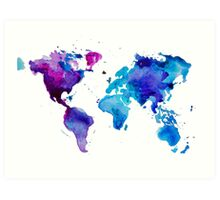 Watercolor Map of the World (t-shirt) Art Print