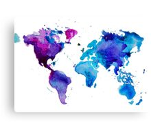 Watercolor Map of the World (t-shirt) Canvas Print