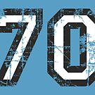Number 70 Black/White Vintage 70th Birthday Design by theshirtshops