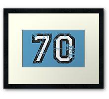 Number 70 Black/White Vintage 70th Birthday Design Framed Print