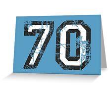 Number 70 Black/White Vintage 70th Birthday Design Greeting Card