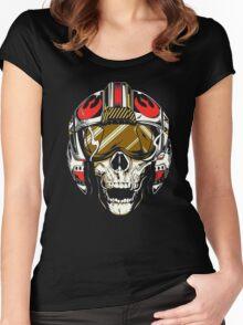X-Wing Skull Helmet T-Shirt Women's Fitted Scoop T-Shirt