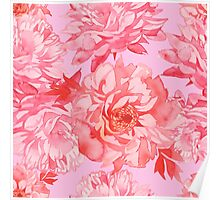 - Watercolor peony pattern - Poster