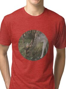 Deer in the woods searching for food Tri-blend T-Shirt