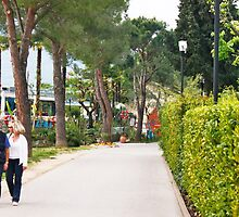 a couple walking alone the side of lake garda by xxnatbxx