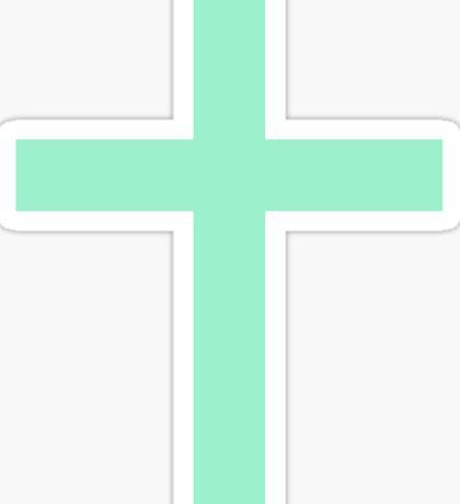 Mint green Christian cross sticker Sticker