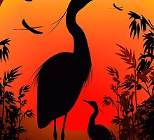 Heron Shape on Stunning Sunset by BluedarkArt