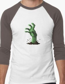Zombie Grasp Pixels Men's Baseball ¾ T-Shirt