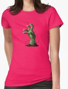 Zombie Grasp Pixels Womens Fitted T-Shirt