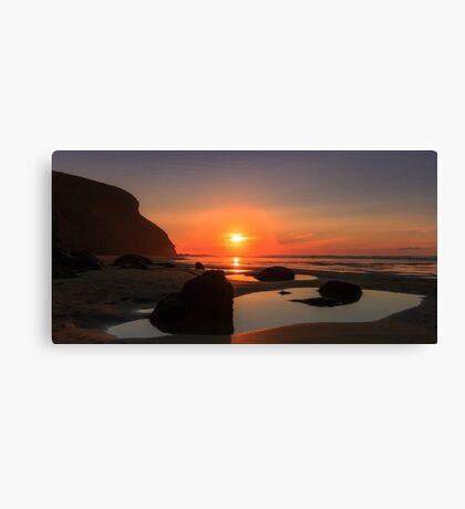 Sunset at Mawgan Porth,North Cornwall Canvas Print