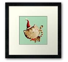 Cute Christmas Cat  - Santa's Helper Framed Print