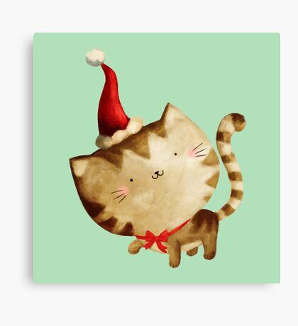 Cute Christmas Cat  - Santa's Helper Canvas Print